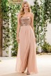 Sweetheart A-Line Gown With Sequined Bodice And Front Slit