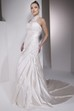 Sheath Sleeveless High Neck Floor-Length Side-Draped Satin Wedding Dress With Illusion Back And Appliques