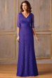 Half-Sleeved V-Neck Lace Mother Of The Bride Dress With Illusion Back