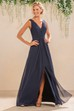 V-Neck Sleeveless A-Line Gown With Front Slit And V-Back