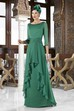 3-4 Sleeve Beaded Square Neck Chiffon Mother Of The Bride Dress With Draping