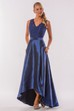Sleeveless V-Neck A-Line High-Low Bridesmaid Dress With Pockets And Lace Bodice
