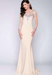 Long Sleeve Sheath Jersey Prom Dress With Sequins And Keyhole