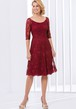 Half-Sleeved A-Line Knee-Length Lace Mother Of The Bride Dress With Scoop Neck