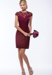 Cap-Sleeved High-Neck Short Lace Sheath Bridesmaid Dress With Illusion Style