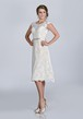 Knee Length Lace Cap Sleeve Wedding Dress With Scoop Neckline And Crystal Brooch