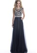A-Line Sleeveless Keyhole Back Chiffon Prom Dress Featuring Crystal Bodice
