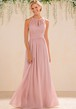 High-Neck A-Line Bridesmaid Dress With Lace Detail And Keyhole Back