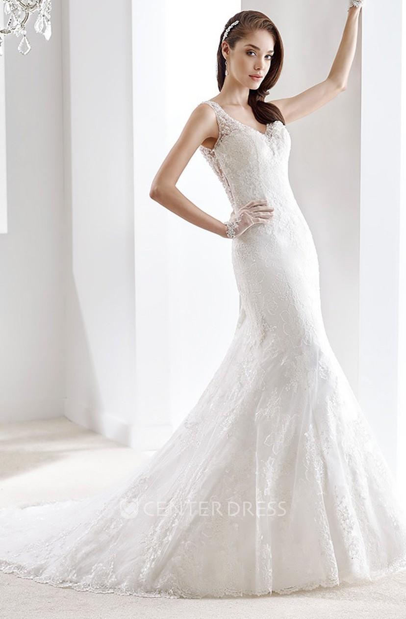 Sheath Wedding Dress.V Neck Cap Sleeve Sheath Wedding Gown With Keyhole Back And Illusive Lace Straps