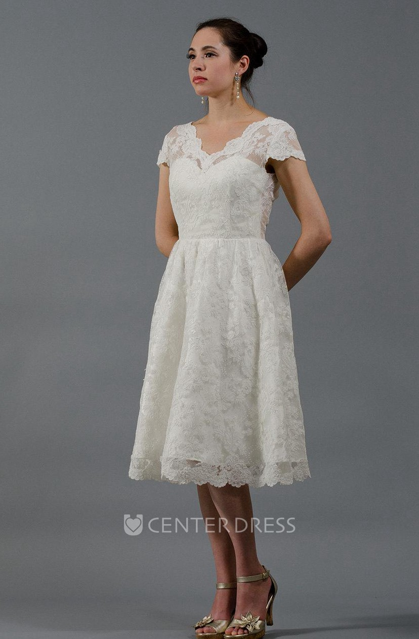 Alencon Lace Knee Length Wedding Dress With Cap Sleeves