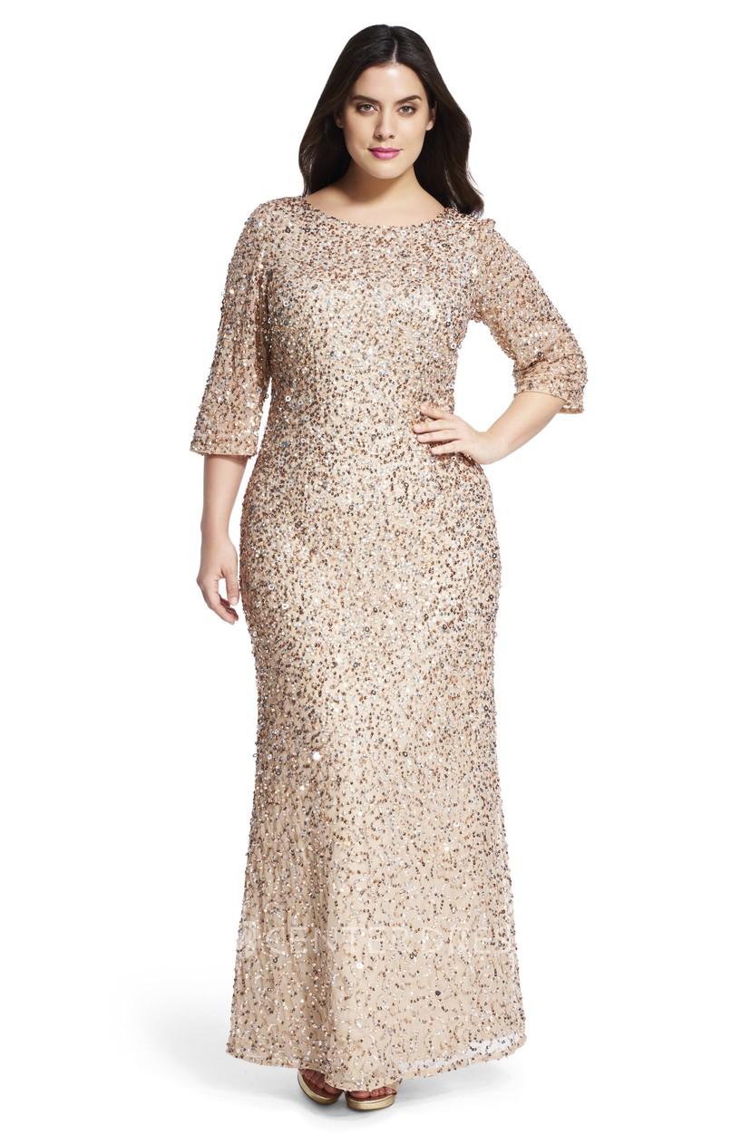 Ankle-Length Mermaid Bateau Neck 3-4 Sleeve Sequin Plus Size Bridesmaid  Dress