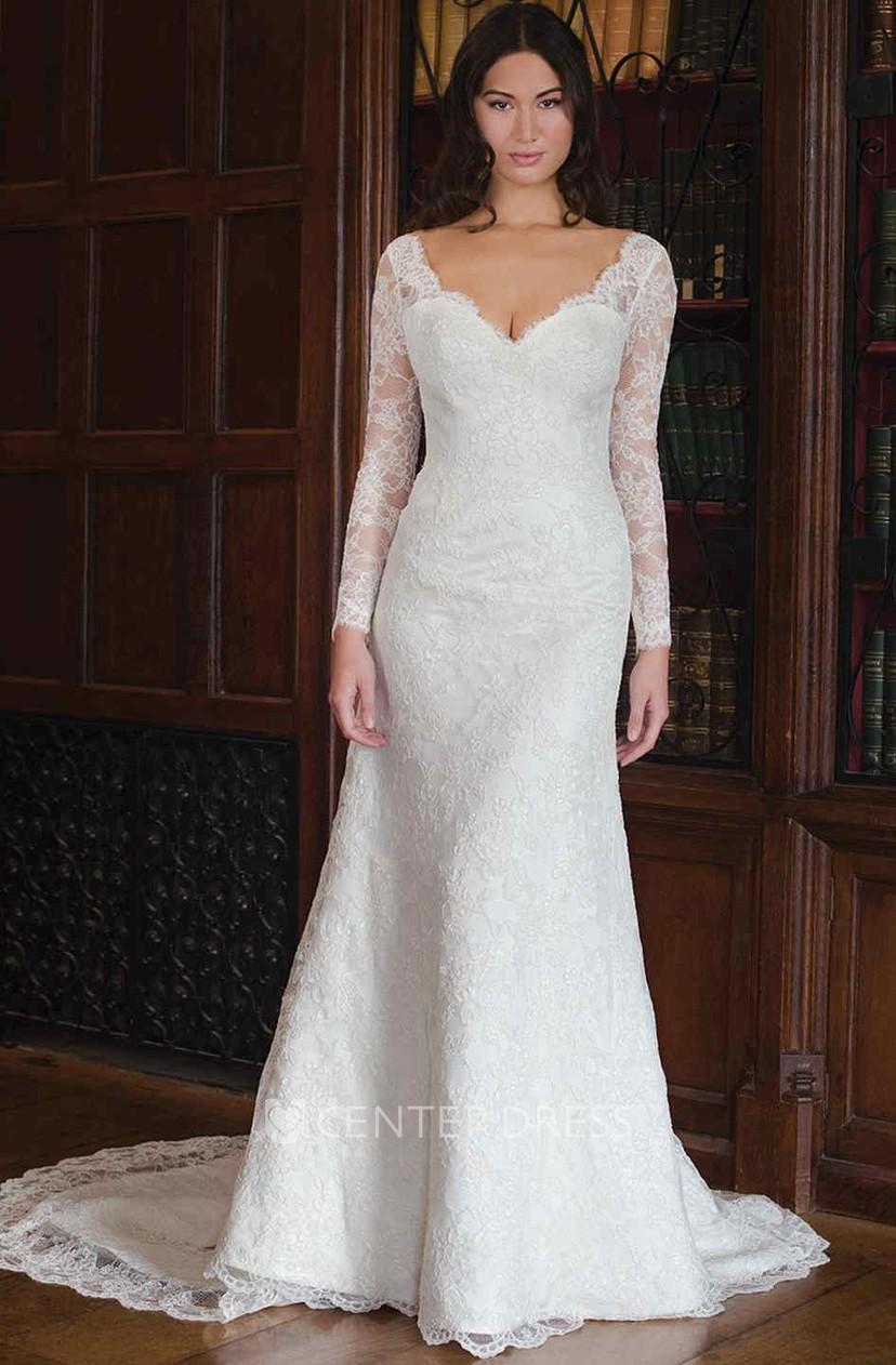 Sheath Maxi V Neck Long Sleeve Lace Wedding Dress With Deep V Back