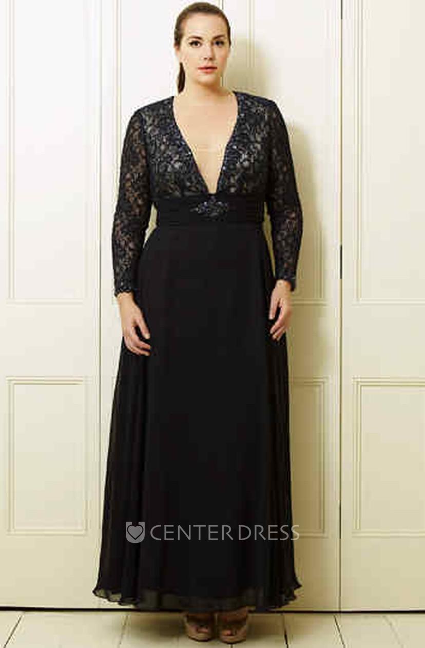 A-Line V-Neck Long-Sleeve Ankle-Length Lace&Chiffon Plus Size Prom Dress