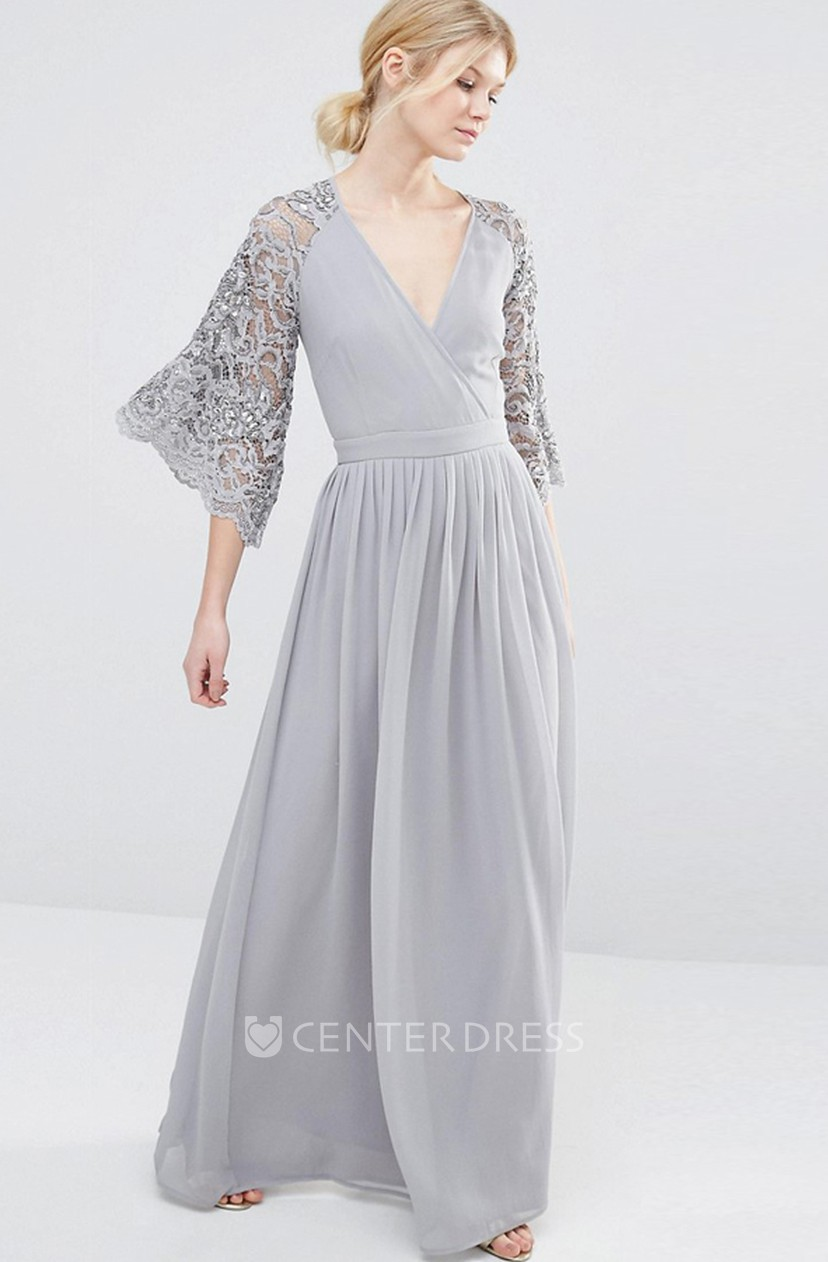 V Neck Bell Sleeve Lace Chiffon Bridesmaid Dress With Pleats