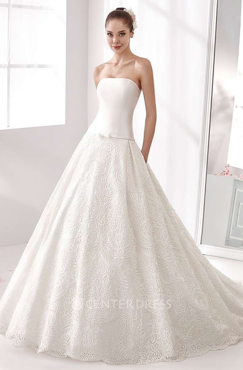Strapless A Line Wedding Dress With Satin Bodice And Lace Skirt