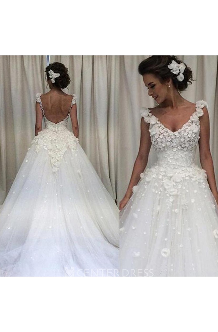 Ball Gown V Neck Lace Tulle Open Back