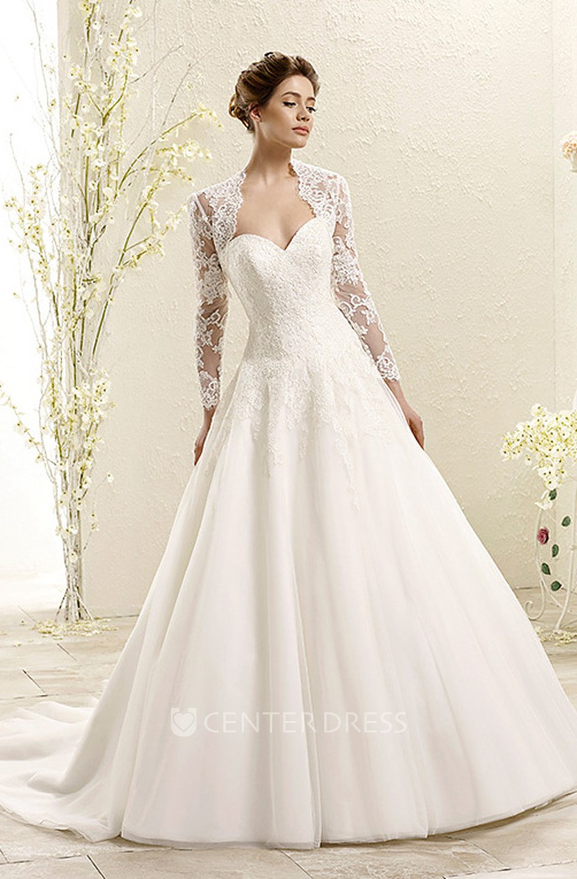 Ball Gown Long Sleeve Sweetheart Lace Wedding Dress With Illusion