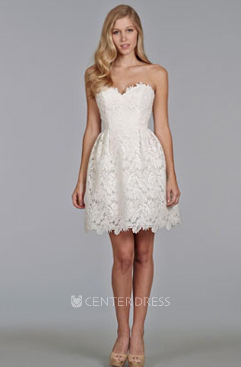 Enchanting Sweetheart Neckline Mini Lace Dress
