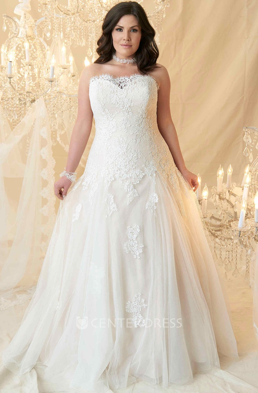 Ball Gown Floor-Length Strapless Tulle&Lace Plus Size Wedding Dress With  Appliques And Corset Back