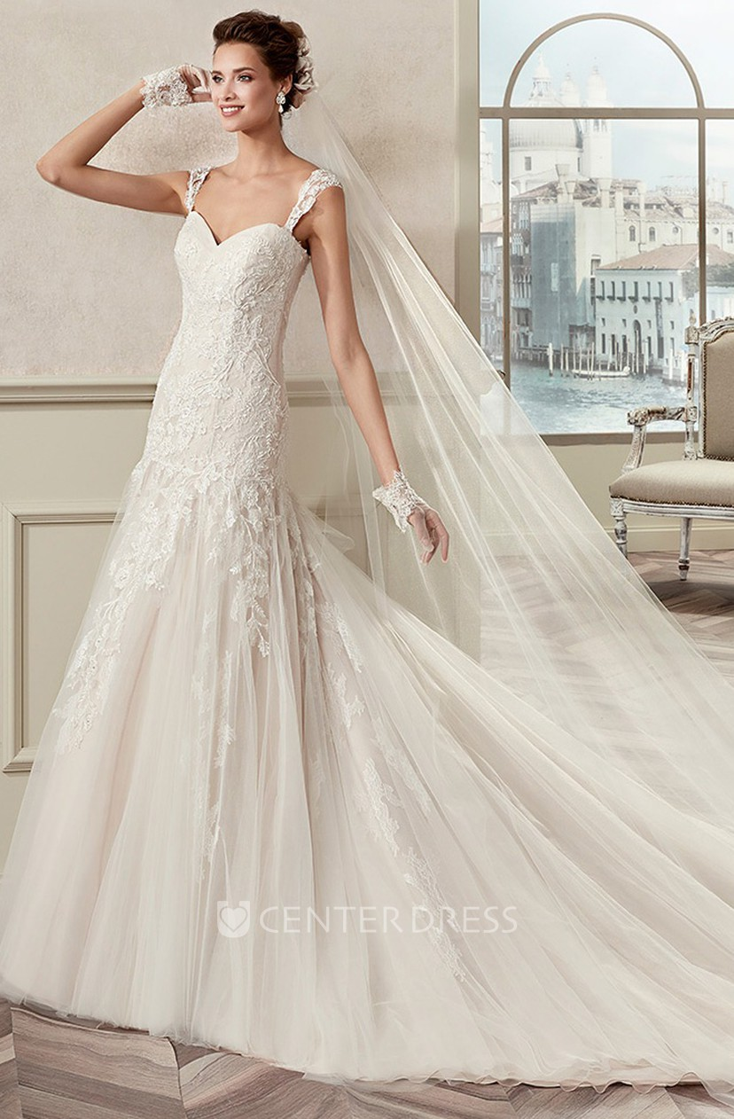 Sweetheart Cap Sleeve Lace Bridal Gown With Appliques Straps And Open Back