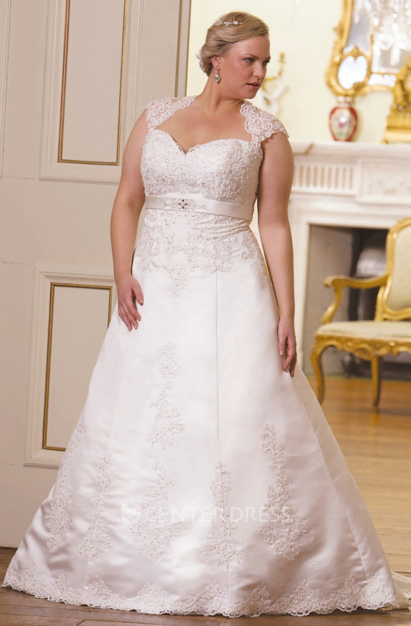 A-Line Cap-Sleeve Floor-Length Sweetheart Lace Plus Size Wedding Dress With  Appliques And Keyhole
