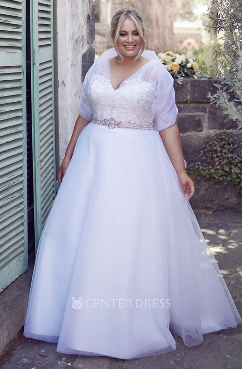 A-Line Jeweled V-Neck Tulle Plus Size Wedding Dress