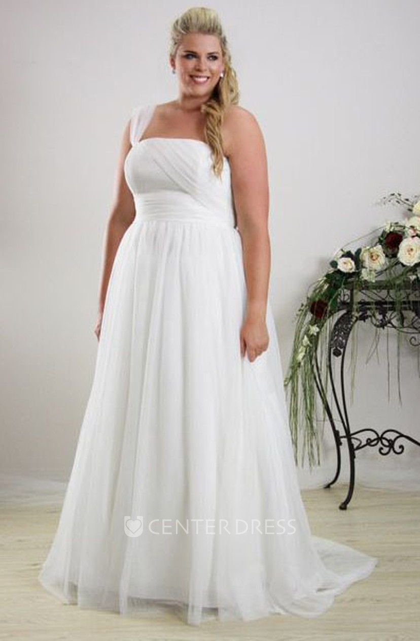 A-Line Sleeveless One-Shoulder Chiffon Plus Size Wedding Dress With Ruching