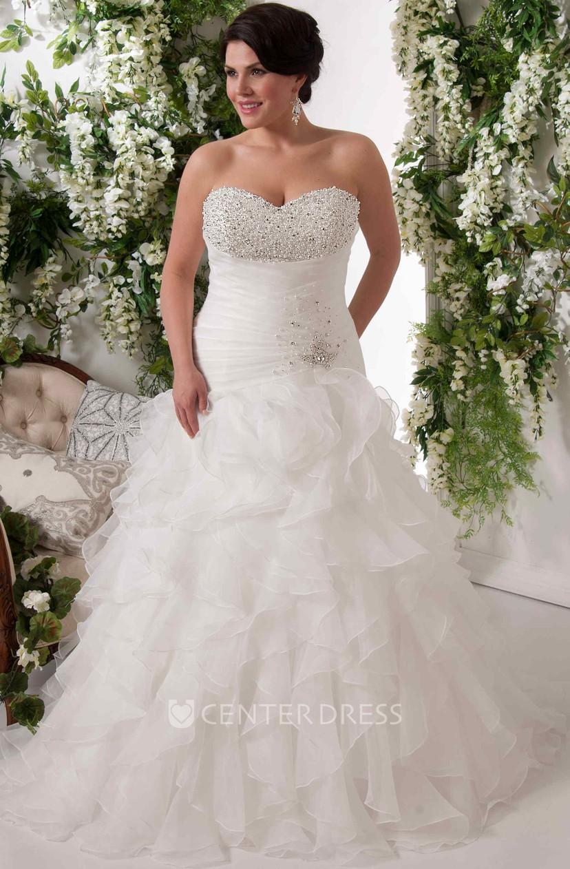 Ball Gown Maxi Sweetheart Sleeveless Cascading-Ruffle Organza Plus Size  Wedding Dress With Beading