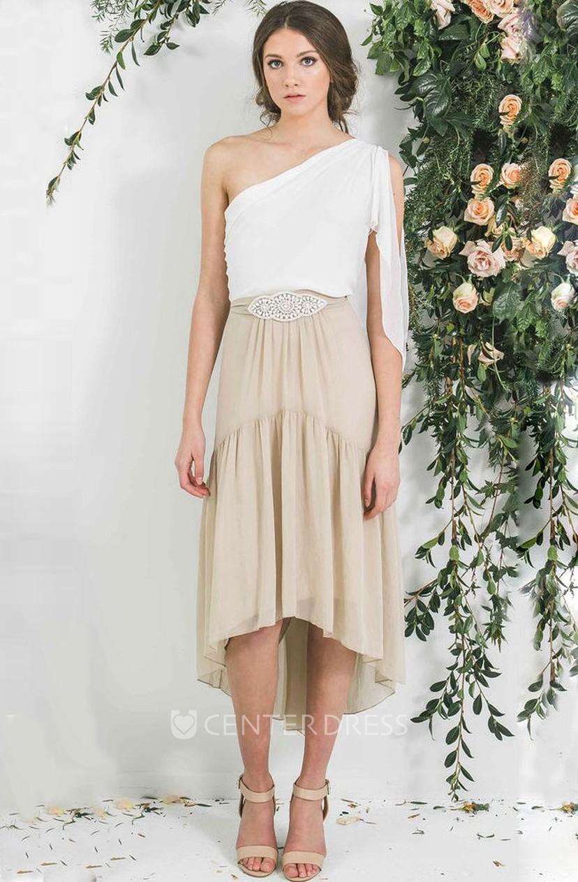 31e3f2629f07 High-Low Jeweled One-Shoulder Sleeveless Chiffon Bridesmaid Dress ...