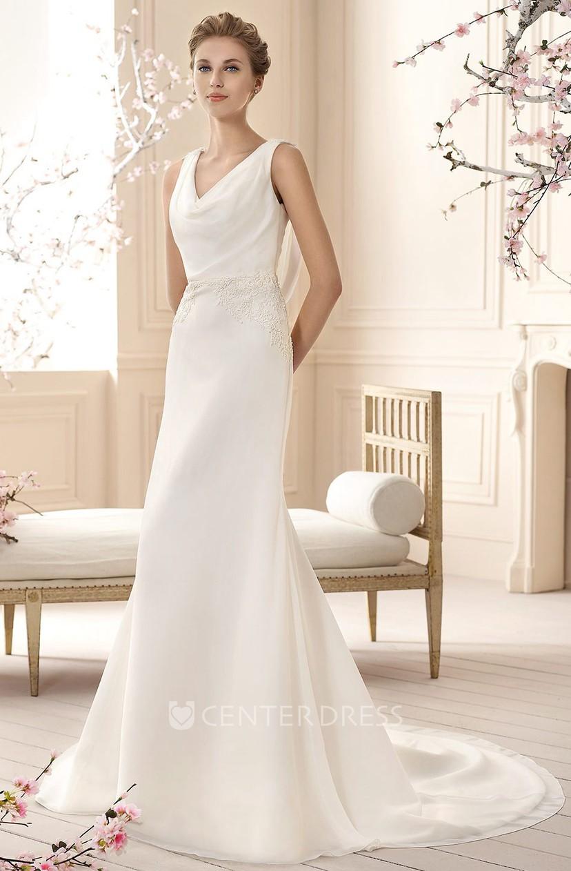 Sleeveless Cowl Neck Bridesmaid Dress
