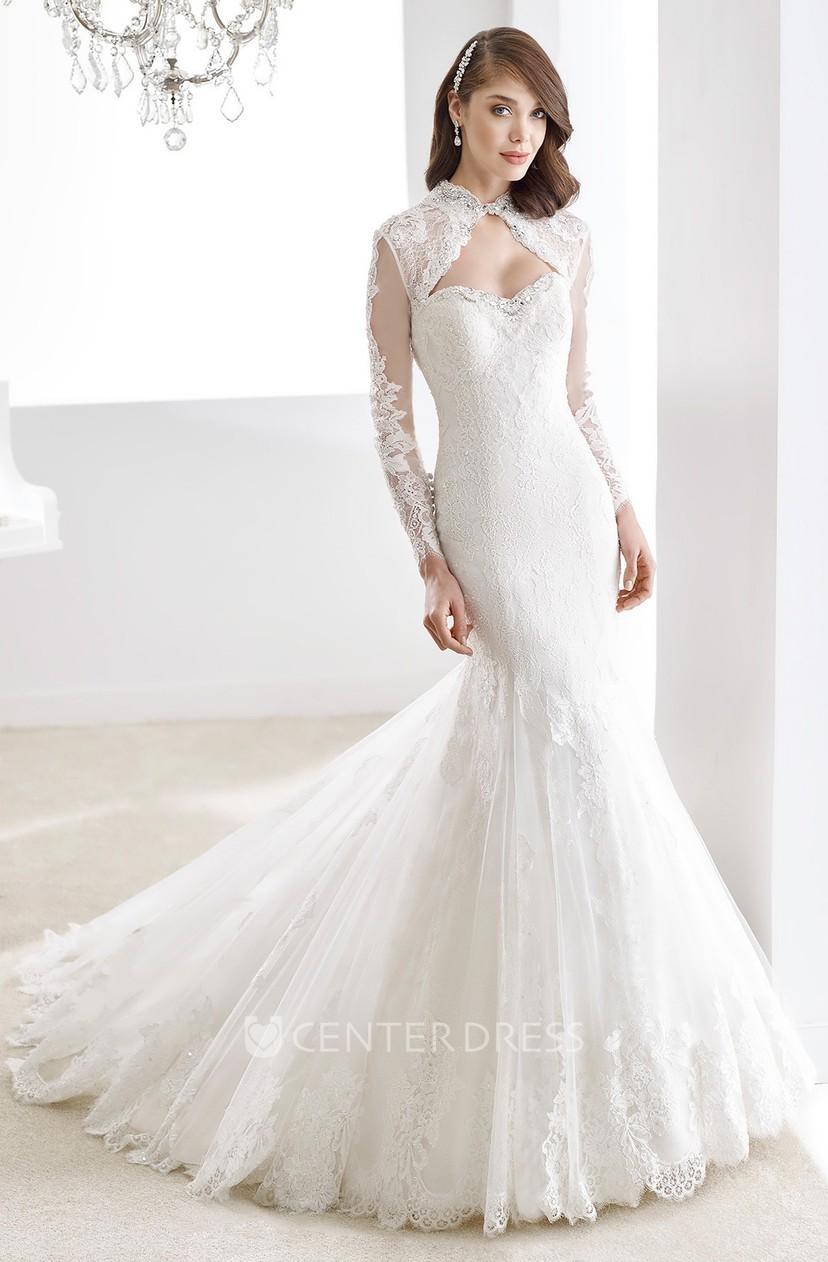 Long Sleeve Keyhole Bust Sheath Lace Wedding Dress With Mermaid Style And Keyholes Back