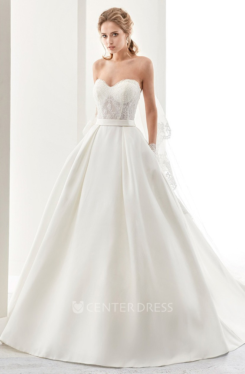 Sweetheart A Line Satin Wedding Dress With Lace Bodice And Back