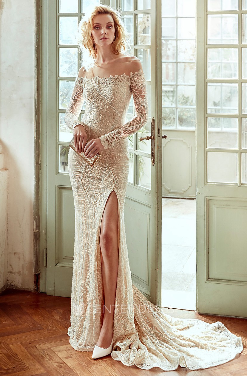 Off Shoulder Sheath Lace Wedding Dress With Side Split And Long Sleeves