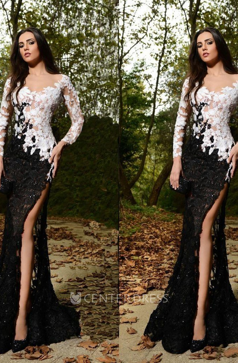 Sexy Lace Appliques Mermaid Prom Dress 2018 Front Split Black And White
