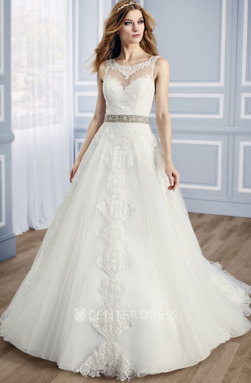 Ball Gown Appliqued Sleeveless Scoop Long Tulle Lace Wedding Dress With Waist Jewellery And Low V Back