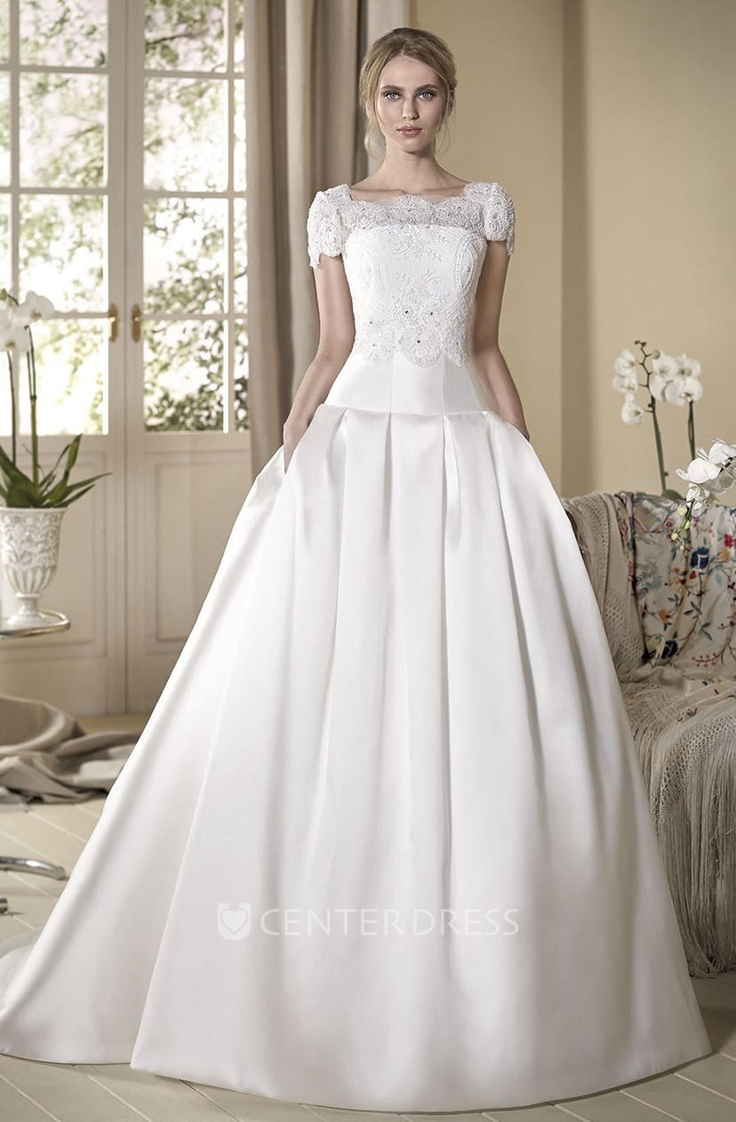 A Line Cap Sleeve Maxi Square Neck Lace Satin Wedding Dress With Cape