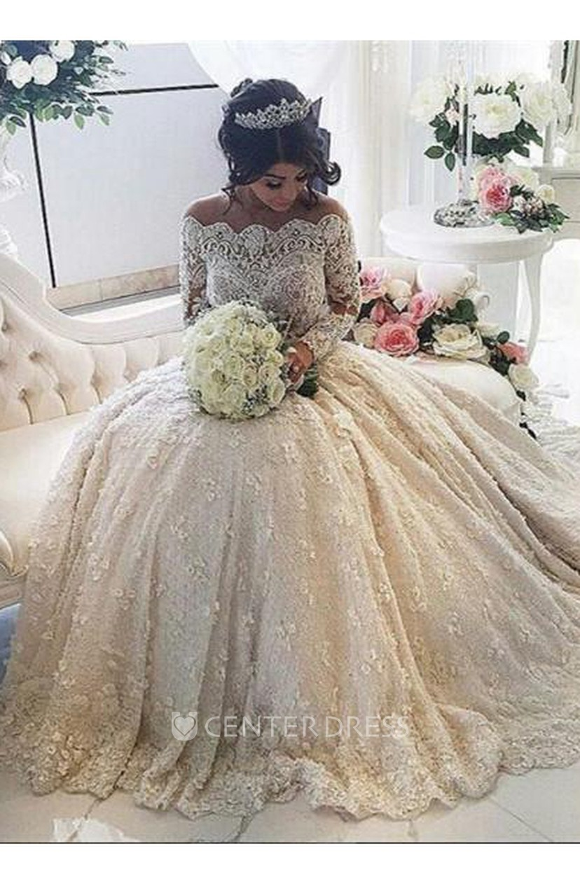 Beautiful Lace Long Sleeve Princess Wedding Dresses 2018 Ball Gown