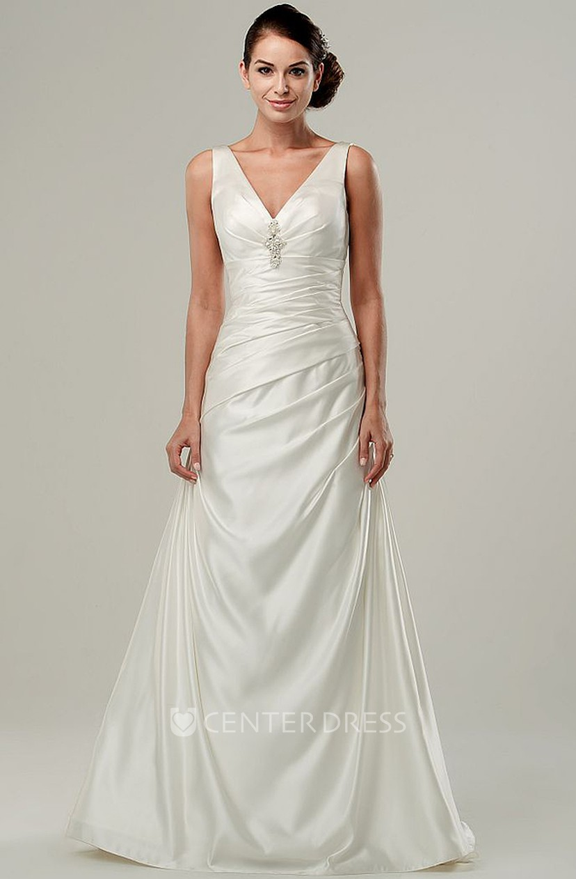 A Line Floor Length V Neck Ruched Sleeveless Stretched Satin Wedding Dress With Broach Online Ucenter Offers Tons Of High Quality