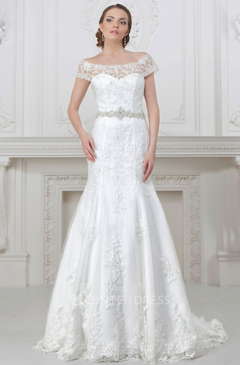 Mermaid Off The Shoulder Floor Length Appliqued Lace Wedding Dress With Waist Jewellery
