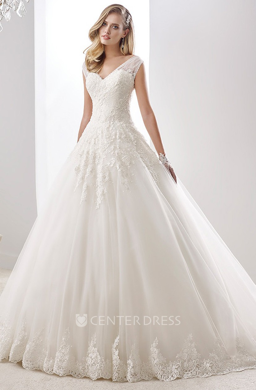V Neck Cap Sleeve A Line Wedding Dress With Open Back And Tulle Straps