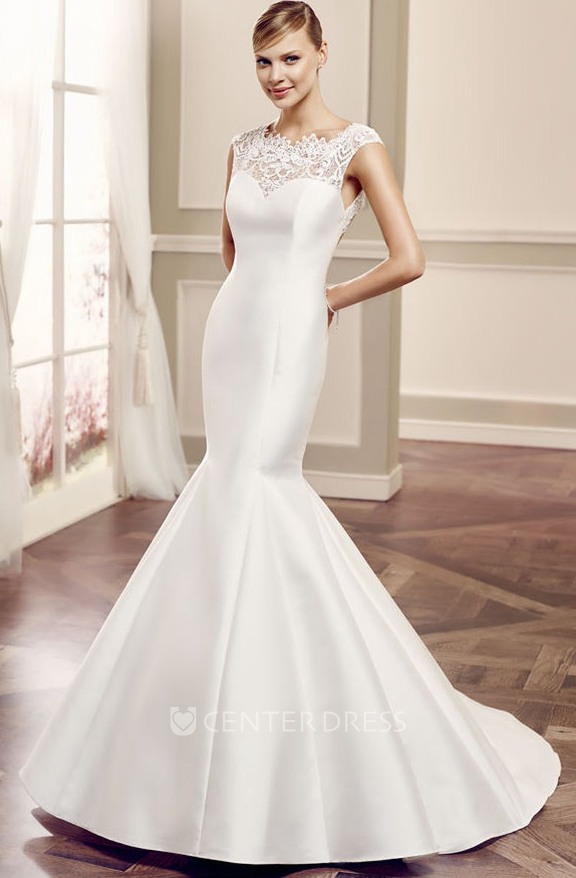 Scoop Long Lace Cap Sleeve Satin Wedding Dress With Court Train And Keyhole