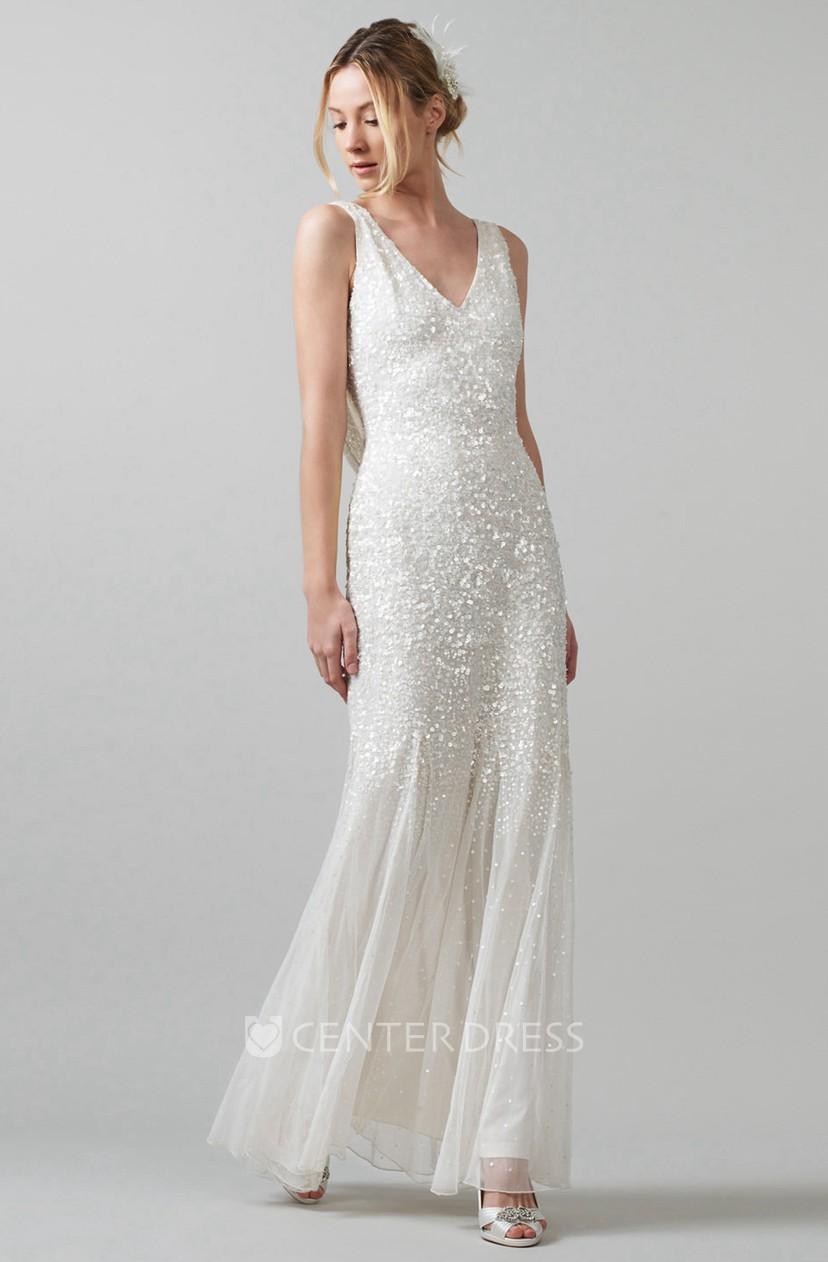 Sheath Sleeveless V Neck Pleated Floor Length Sequins Wedding
