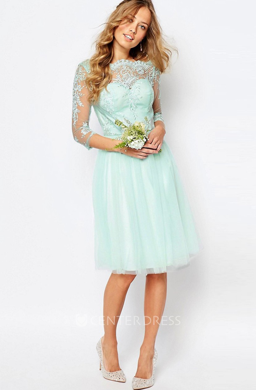 Knee Length Appliqued Bateau Neck 3 4 Sleeve Tulle Bridesmaid Dress