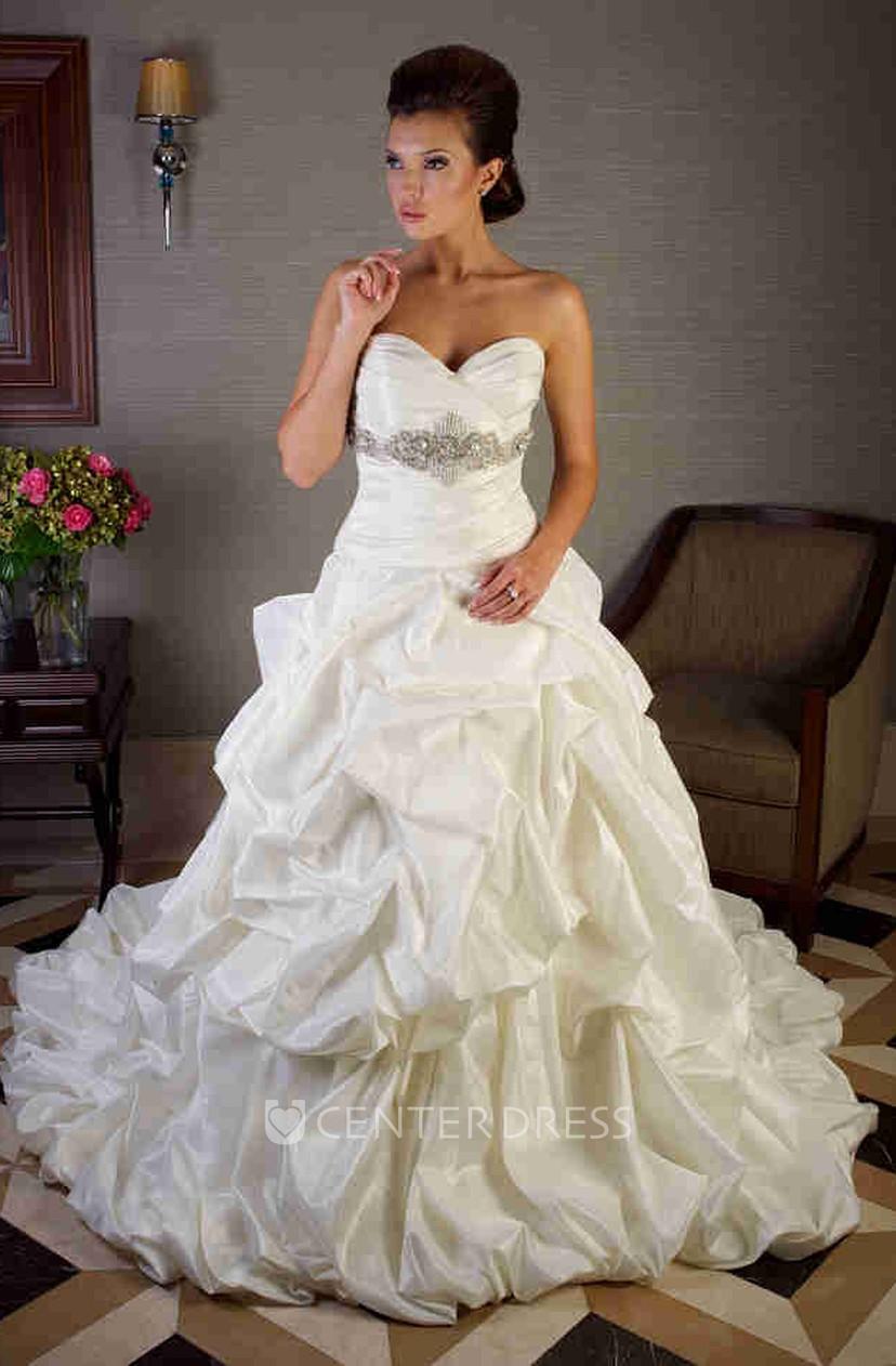 Ball Gown Criss-Cross Sweetheart Taffeta Wedding Dress With Pick Up ...