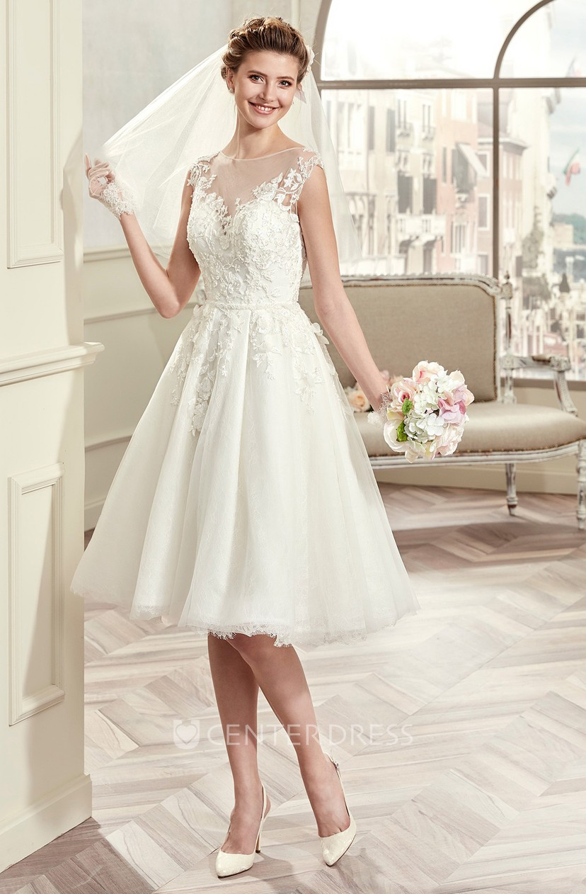 Cap Sleeve Knee Length Wedding Gown With Illusive Design And Lace Bodice