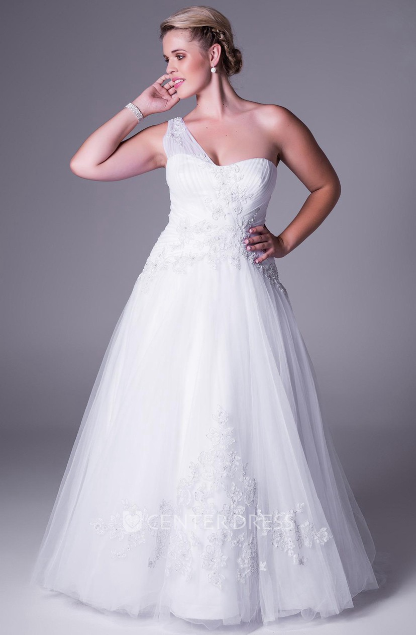 A-Line Maxi One-Shoulder Sleeveless Tulle Plus Size Wedding Dress With  Appliques And Zipper