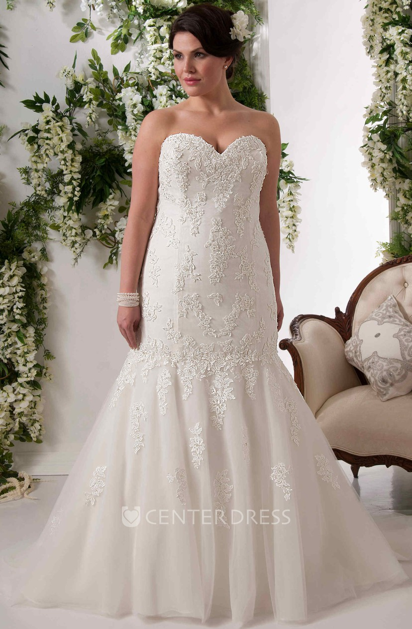 Mermaid Sweetheart Lace Plus Size Wedding Dress With Lace Up