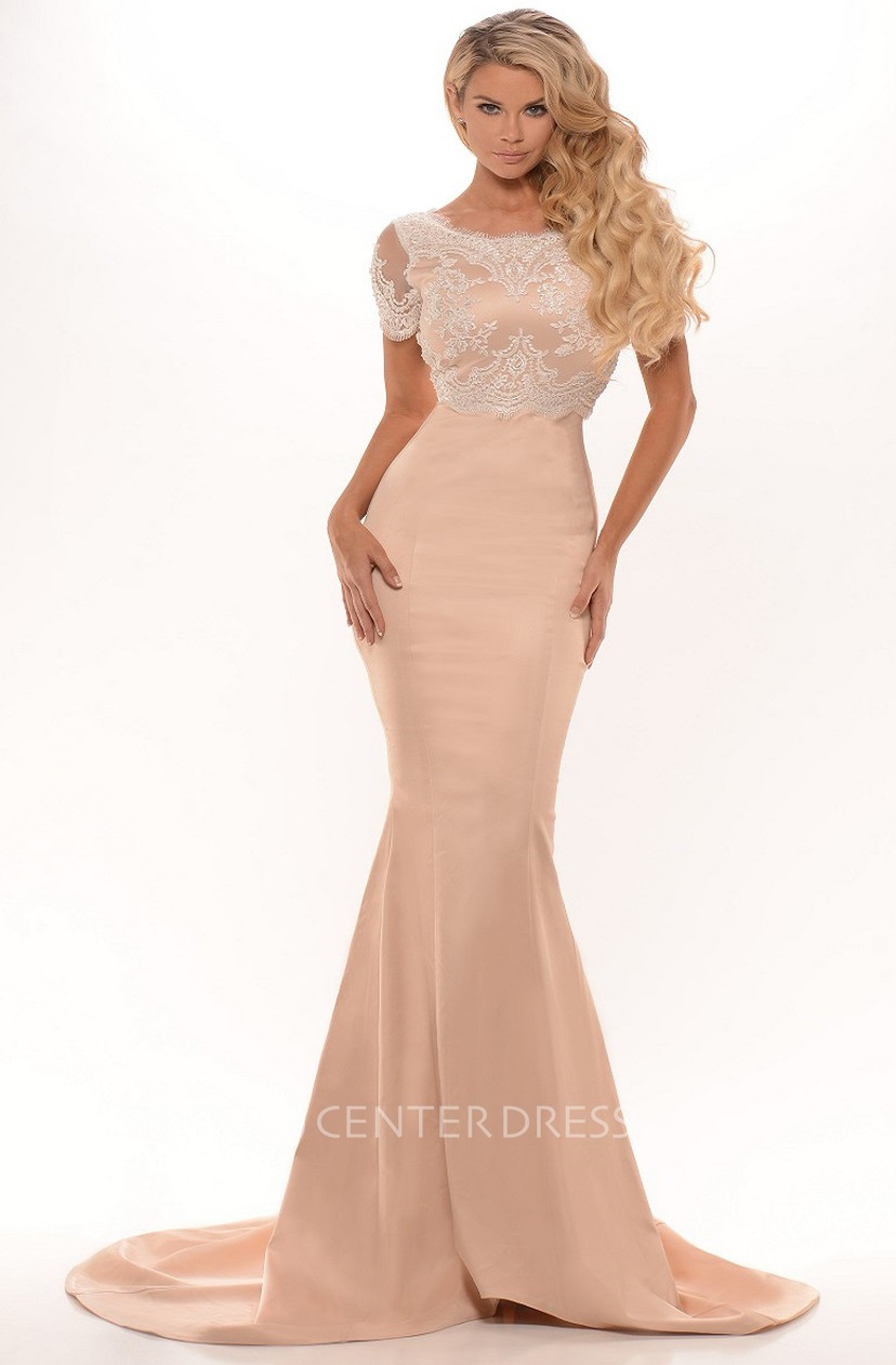 Trumpet Bateau Short Sleeve Long Lace Prom Dress With Low V Back And Pleats
