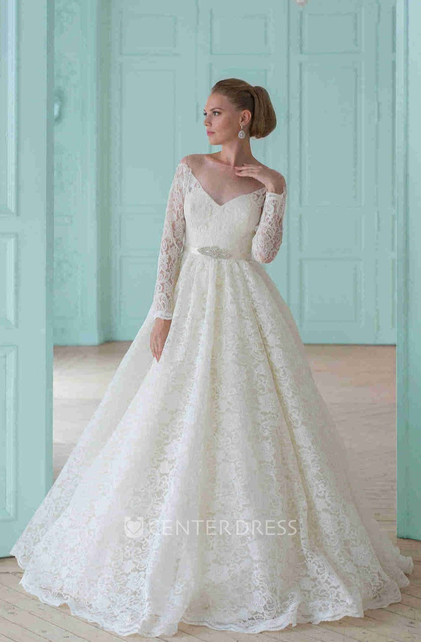Ball Gown Long Sleeve Scoop Neck Lace Wedding Dress With Waist Jewellery And Illusion