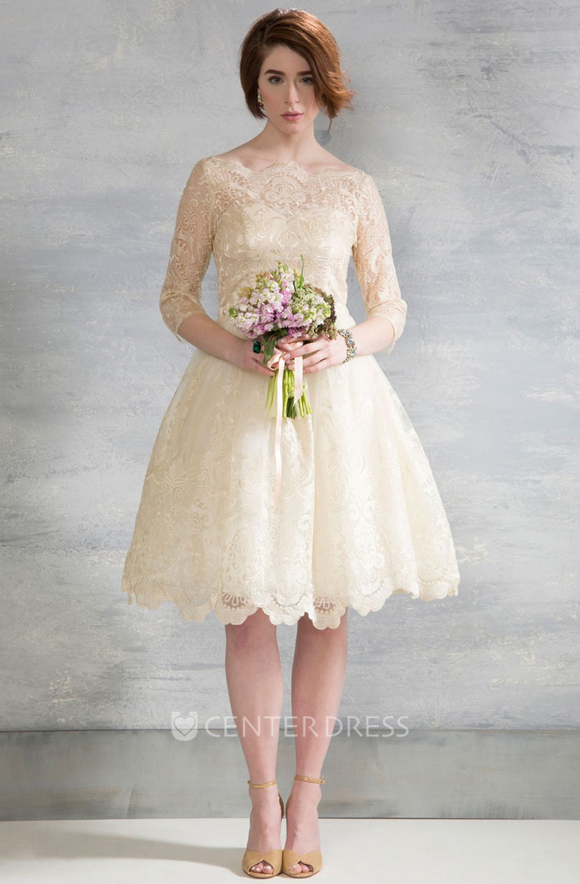 Knee Length Bateau Long Sleeve Lace Wedding Dress With Illusion